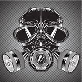 Gray scale respirator gas mask illustration Royalty Free Stock Images
