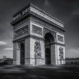 Gray scale shot of the Arc De Triomphe captured in Paris, France