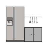 gray scale silhouette fridge and cabinet Stock Images