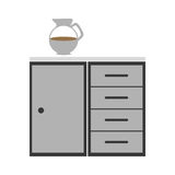 Gray scale silhouette with kitchen shelf and drawers Royalty Free Stock Photo