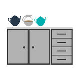 Gray scale silhouette with kitchen shelf and drawers and tea kettle Stock Photos
