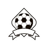 Gray scale soccer tournament emblem with ball Stock Photography