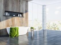 Gray Scandinavian-badkamersbinnenland, ton zijaanzicht Stock Illustratie