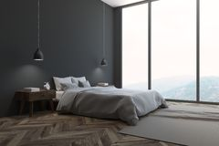 Gray Scandinavian-slaapkamerhoek, venster Stock Illustratie