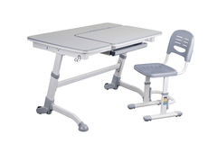 Gray school desk and gray chair Royalty Free Stock Photos