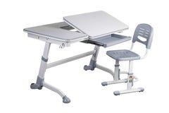 Gray school desk and gray chair Stock Photo