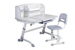Gray school desk and gray chair Stock Photos