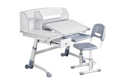 Gray school desk and gray chair Royalty Free Stock Images