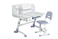 Gray school desk and gray chair Royalty Free Stock Photo