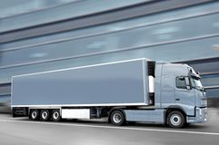 Gray  semi truck Royalty Free Stock Images