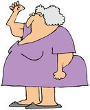 Gray senior power. Illustration depicting an old woman flexing her fist and showing her power and sagging triceps Royalty Free Stock Photos