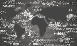 Gray shade planisphere with the repeated Vision word. On the bottom Royalty Free Stock Photos