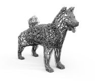 Gray shading rendering of low polygon dog`s wire frame Royalty Free Stock Photography