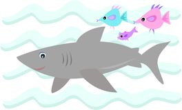 Gray Shark with Fish Friends Royalty Free Stock Photos