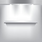 Gray shelf with 3 spotlight Stock Images