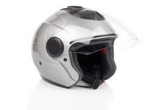 Motorcycle helmet. Gray, shiny motorcycle helmet, on white background stock photos