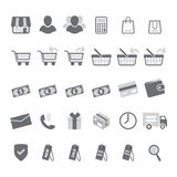 Gray shopping icon set Royalty Free Stock Images