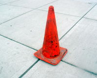 Gray Sidewalk and Orange Cone Royalty Free Stock Photography