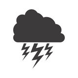 Gray silhouette of cloud with lightnings Royalty Free Stock Photo