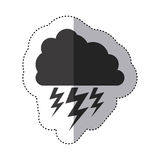 Gray silhouette sticker of cloud with lightnings Royalty Free Stock Photo