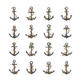 Gray silhouettes of anchor with rope. Set of gray silhouettes of anchor with rope and isolated on a white background Stock Illustration