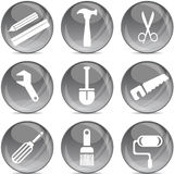 Tools silhouettes on gray balls Royalty Free Stock Images
