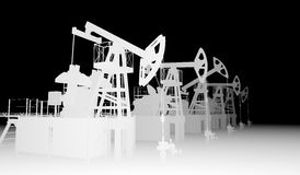 Gray silhuettes of oil pump-jacks Stock Image