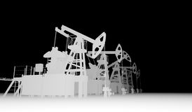 Gray silhuettes of oil pump-jacks Stock Photo
