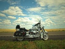 Gray and Silver Cruiser Motorcycle Near Green Grass Lawn Stock Image
