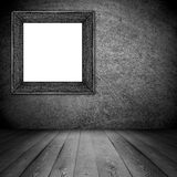 Gray or silver frame on scratched wall texture Stock Images