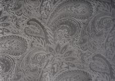 Gray or silver velvet fabric with a vintage elegant floral pattern or a luxury texture. Stock Image