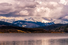 Gray Skies Over Lake Granby. Quickly changing skies had me capture these gray, stormy clouds over Lake Granby, Colorado. Lake Granby is man-made, and is the 3rd royalty free stock photo
