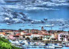 Gray sky over Stintino Royalty Free Stock Images