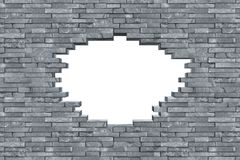 Gray slate breakthrough hole wall texture. Gray slate stone rock wall with breakthrough hole texture modern design pattern background stock photos
