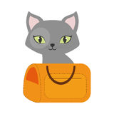 Gray small cat green eyes yellow pet carrier traveling. Illustration eps 10 Royalty Free Stock Photos
