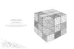 Gray smontato del cubo di puzzle poli in basso Fotografia Stock