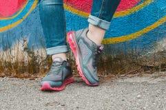 Gray sneakers Stock Photo
