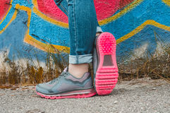 Gray sneakers Royalty Free Stock Images