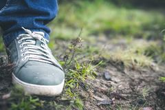 Gray sneakers on the grass outside the city royalty free stock images