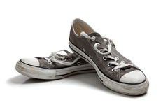 Gray sneakers on white Royalty Free Stock Images