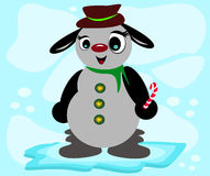 Gray Snowman Dog with Candy Stock Photo