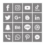 Gray Social massmediasymboler ställde in Logo Vector Illustrator Background vektor illustrationer