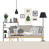 Gray sofa with a coffee table and rack with a floor lamp in Scandinavian style. With pictures, plants and pillows stock illustration