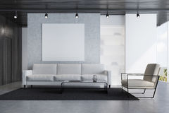 Gray sofa living room with a poster royalty free illustration