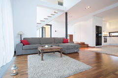 Gray sofa in living room Stock Images