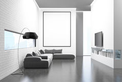 Gray sofa living room, TV set and poster Royalty Free Stock Images