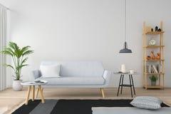 Gray sofa in white living room, 3D rendering