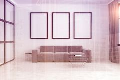 Gray sofa, poster gallery toned. White living room interior with a long sofa standing under three framed posters on a carpet on a concrete floor. 3d rendering Royalty Free Stock Photography