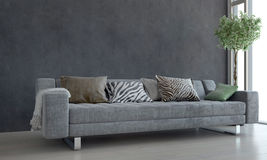 Gray Sofa and Potted Plant in Bright Living Room Stock Image