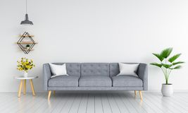 Gray sofa in living room for mockup, 3D rendering